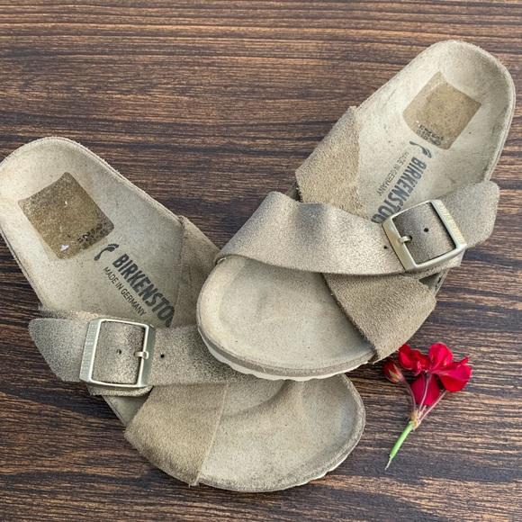 Birkenstock Shoes - Birkenstock Siena Gold & Taupe Suede Slides